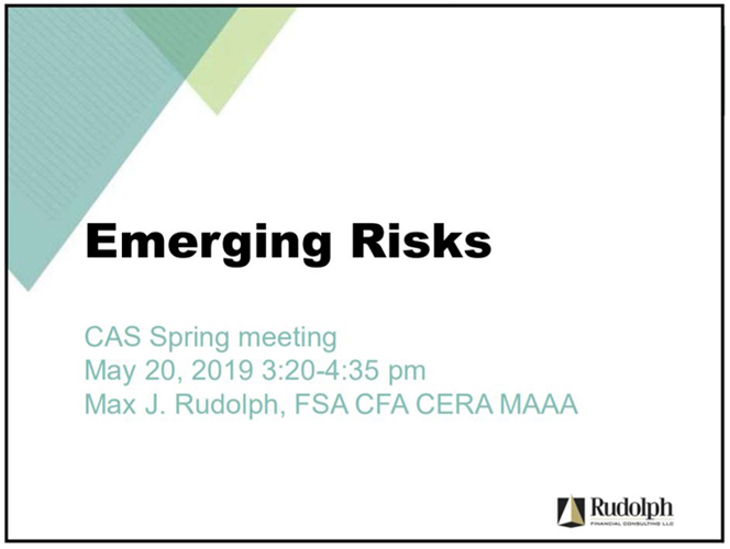 Emerging Risk Identification and Optimizing Resiliency Presentation